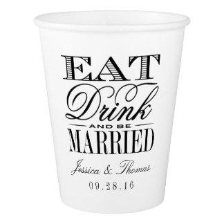 Eat, Drink & Be Married Modern Black/White Wedding