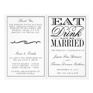 Eat, Drink & Be Married Modern Black/White Wedding 21.5 Cm X 28 Cm Flyer