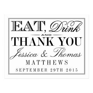 Eat, Drink & Be Married Modern Black/White Wedding Postcard