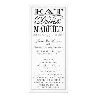 Eat, Drink & Be Married Modern Black/White Wedding Full Color Rack Card