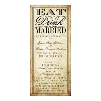 Eat, Drink & Be Married Vintage Wedding 10 Cm X 23 Cm Rack Card
