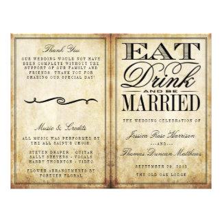 Eat, Drink & Be Married Vintage Wedding 21.5 Cm X 28 Cm Flyer