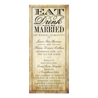 Eat, Drink & Be Married Vintage Wedding Rack Card Design