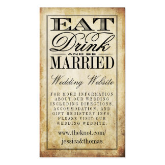 Eat, Drink & Be Married Vintage Wedding Website Pack Of Standard Business Cards