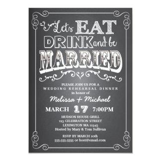 Eat, Drink & Be Married Wedding Rehearsal Dinner 13 Cm X 18 Cm Invitation Card