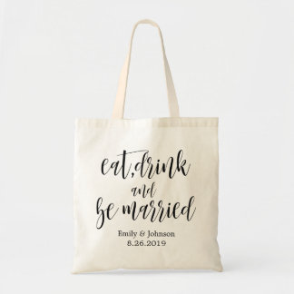 eat,drink & be married|wedding welcome gift tote bag