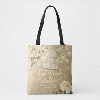 Eat Drink be Married Wedding Welcome Mason Jar Tote Bag