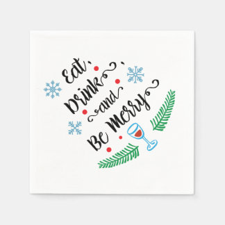 Eat Drink & Be Merry Christmas Cocktail Napkin Paper Serviettes