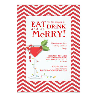 Eat Drink & be Merry Christmas Cocktail Party 13 Cm X 18 Cm Invitation Card