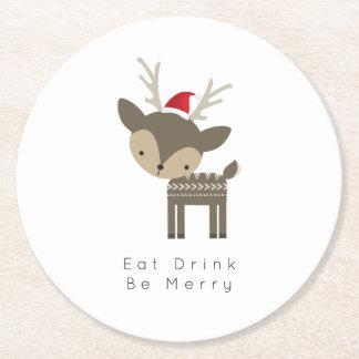 Eat Drink Be Merry Christmas Deer In Red Santa Hat Round Paper Coaster