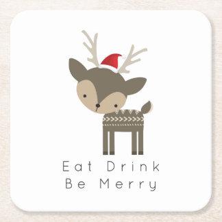 Eat Drink Be Merry Christmas Deer In Red Santa Hat Square Paper Coaster