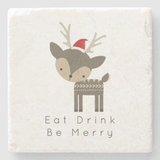 Eat Drink Be Merry Christmas Deer In Red Santa Hat Stone Coaster