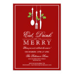 Eat Drink & Be Merry Christmas Holiday Party 13 Cm X 18 Cm Invitation Card