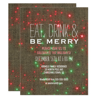 Eat Drink Be Merry Christmas Holiday Party Rustic Card