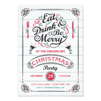 Eat Drink & Be Merry Christmas Party, Rustic Wood Card