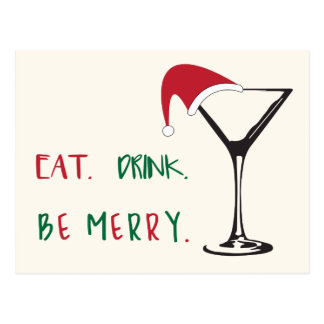 Eat. Drink. Be Merry. Christmas Postcard