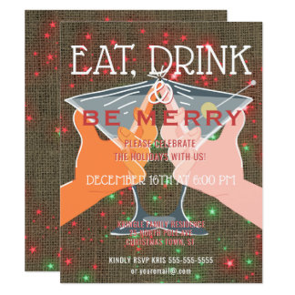 Eat Drink Be Merry Holiday Cocktail Party Invite