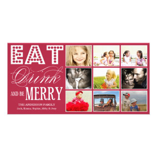 EAT, DRINK & BE MERRY | HOLIDAY COLLAGE CARD PHOTO GREETING CARD