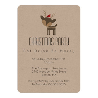 Eat Drink Be Merry Minimalist Christmas Party Card