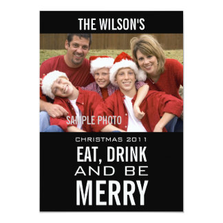EAT DRINK BE MERRY PHOTO CHRISTMAS CARD BLACK