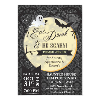 Eat, Drink & Be Scary Halloween Invite - Black
