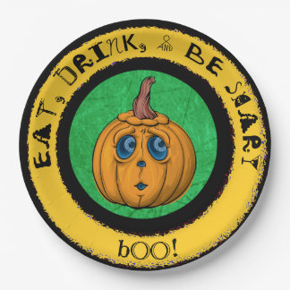 Eat, Drink & Be Scary, Halloween Paper Party Plate 9 Inch Paper Plate