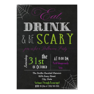 Eat drink be scary purple green Invitation
