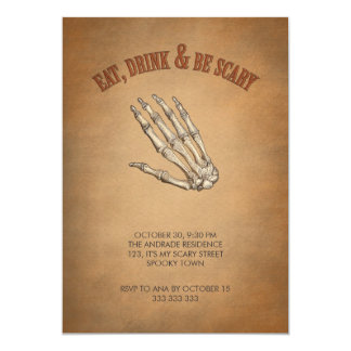 Eat Drink Be Scary Skeleton Hand Halloween Card