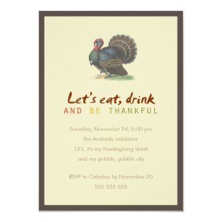Eat Drink Be Thankful Vintage Thanksgiving Turkey 11 Cm X 16 Cm Invitation Card