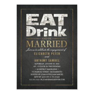 Eat Drink Gold Effect Funny Engagement Party 13 Cm X 18 Cm Invitation Card