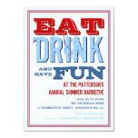Eat, Drink & have Fun at a Summer BBQ Party 11 Cm X 16 Cm Invitation Card