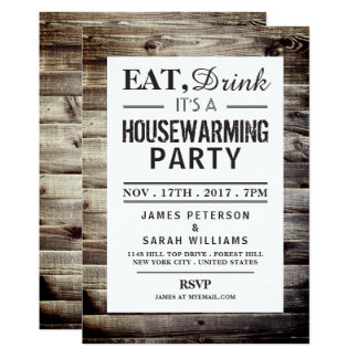 Eat, Drink Housewarming Party Rustic Wood Card