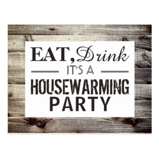 Eat, Drink Housewarming Party Rustic Wood Invite Postcard