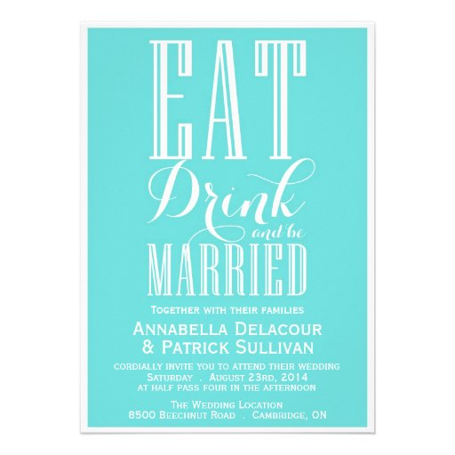 Eat Drink Married Blue Wedding Invitation