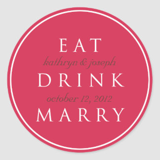 EAT DRINK MARRY cherry red wedding favor label Stickers