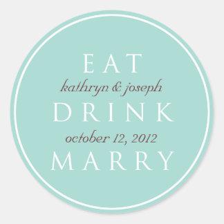 EAT DRINK MARRY teal blue wedding favor label Sticker