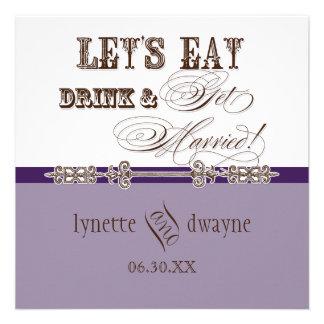 Eat Drink n Get Married Bridal Wedding Invitation