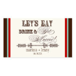 Eat, Drink n Get Married Escort Table Number Cards Business Card