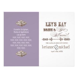 Eat, Drink n Get Married, Formal Wedding Program 21.5 Cm X 28 Cm Flyer