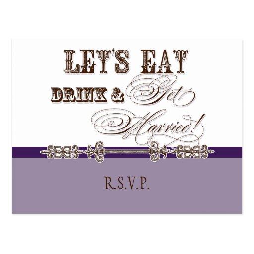 Eat, Drink n Get Married, RSVP Response Postcard