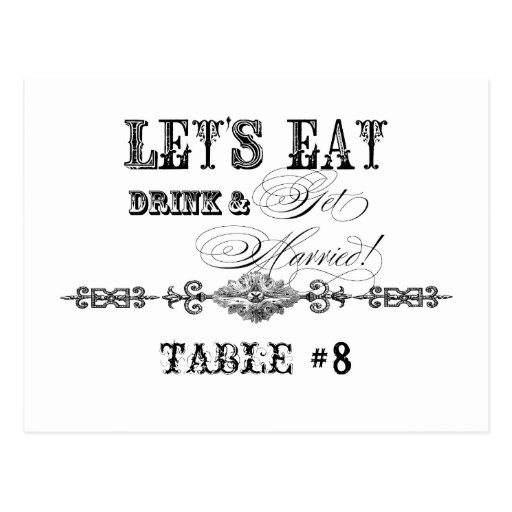 Eat, Drink n Get Married, Table Number Postcards
