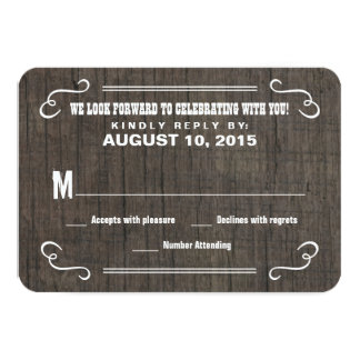 Eat Drink & RSVP Old West Wood Wedding Reply Cards 9 Cm X 13 Cm Invitation Card