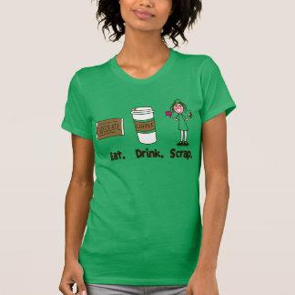 Eat! Drink! Scrap! on Kelly Green T Shirts