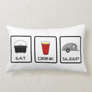 """""""Eat, Drink, Sleep"""" Teardrop Camping Cushions"""