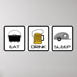 """""""Eat, Drink, Sleep"""" Teardrop Camping Poster"""