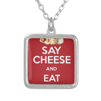 EAT HALLOUMI GREEK CHEESE SILVER PLATED NECKLACE