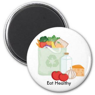 Eat Healthy 6 Cm Round Magnet