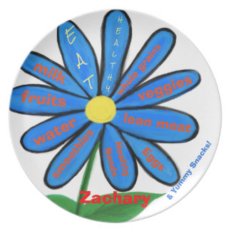 Eat Healthy Blue Floral Kids Name Melamine Plates