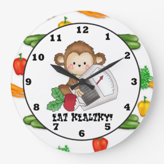 Eat Healthy Monkey cartoon wall clock