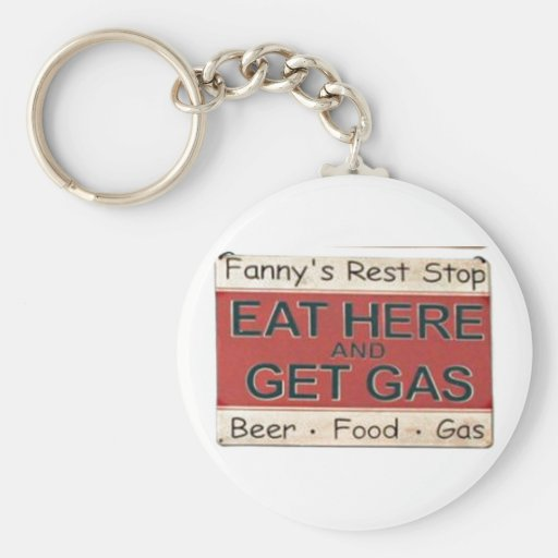 """""""EAT HERE GET GAS"""" Vintage 1950 Sign Keychain"""